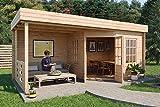 Carlsson Gartenhaus KATE-40 aus Holz mit Flachdach - Blockhaus für den Garten - Massivholz Gartenhütte mit Terrasse & 2 Fenster - ohne Imprägnierung