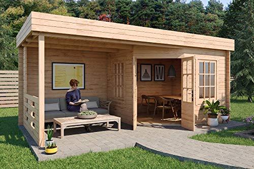 *CARLSSON Gartenhaus Hanna-40 aus Holz mit Flachdach – Blockhaus für den Garten – Massivholz Gartenhütte mit Terrasse & 2 Fenster – ohne Imprägnierung*