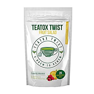 Teatox Twist Fruit Salad Flavour 28 Day Plan. Delicious Premium Detox Tea To Drink At Any Time. Fantastic Weight Loss Tea Great Unique And Delicious Herbal Tea Blend. Pack Contains 28 Biodegradable Tea Bags.