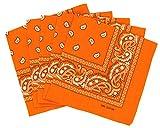 Lot de bandanas 100% Coton paisley foulard fichu - Orange - Lot de 20 identiques