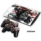 """PS3 Super Slim Playstation Pegatinas de PVC para la Consola + 2 Controladores Decal Protector Arte ''Kilzone"""""""