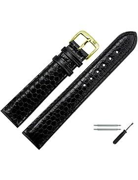 Uhrenarmband 18mm Leder Schwarz Echtes Schlangenleder / Seewasserschlange - MADE IN GER - Inkl. Federstege / Werkzeug...