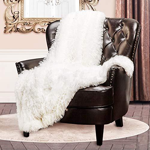 junovo Kunstfell-Überwurf, superweich, kuschelig, flauschig, Lange Haare, zottelig, Fuzzy Couch & Bettüberwurf, weiß, Twin-63