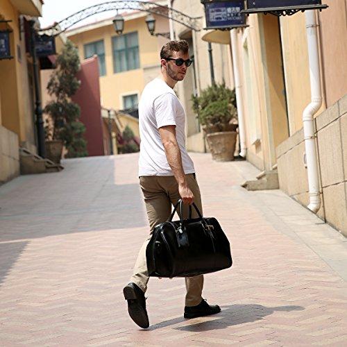 Leathario Borsa viaggio unisex Borsone Vera pelle Bagaglio a mano borsa a spalla da Voli Viaggio Valigetta Weekend Sport Vintage grande Capacita�?Nero Nero