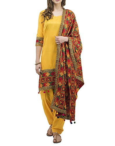 Generic Women's Silk Salwar Suit With Dupatta (Yellow,Free Size, Unstitched)