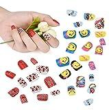 Faux ongles pour enfants, Kolylong の 24 Pcs appuyer sur False Nails Motif de Dessin Animé Complet Nail Pré colle pour les Enfants Filles décoration d'ongles Diy Kit