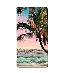 Blue Throat Palm Trees on a Beach Back Case Cover for Sony Xperia C6 Ultra Dual