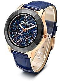 Barbie Reloj con Esfera de Diamantes rotos de Caja cerámica Reloj de Serie princesa para Mujer W50477L (Azul)