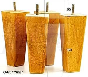 4x piedini in legno massiccio di gambe di mobili 160mm altezza per divani, sedie, sgabelli M8(8mm) pkc351b Oak