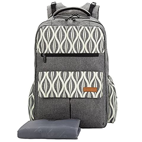 Lekebaby Casual Nappy Changing Backpack with Changing Mat and Stroller Straps