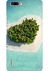 AMEZ designer printed 3d premium high quality back case cover for Huawei Honor 6 Plus (Heart island)