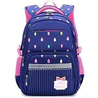 Uniuooi Primary School Bag Backpack for Girls 7-12 Years Old Waterproof Nylon Laptop Bag 20-35L Pineapple Navy