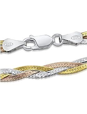 Amberta 925 Sterlingsilber Halskette - Herringbone Kette - Fischgrätkette - 5 mm Breite - Verschiedene Längen:...