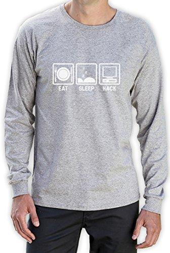 Eat Sleep Hack - Geschenkidee für Programmierer Langarm T-Shirt Grau