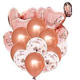 Tian 36 Pezzi Oro Rosa Palloncini coriandoli con 12 pollici palloncini di coriandoli in lattice e 18 pollici Palloncini in stagnola cuore con banda in oro rosa per compleanno matrimonio addobbi natalizi decorazioni per feste (oro rosa)