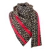 MBW Oversized Damen-Schal Winterschal beidseitig tragbar mit Leomuster und roten Streifen Animalprint