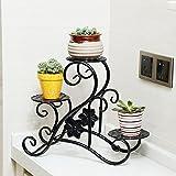 XIAOLIN- L33 * H30CM Europäische Art Kreative Eisen Mehrgeschossige Blumenständer Balkon Fensterbank Schreibtisch Blumenständer -Blumen-Finishing-Rahmen (Farbe : Schwarz)