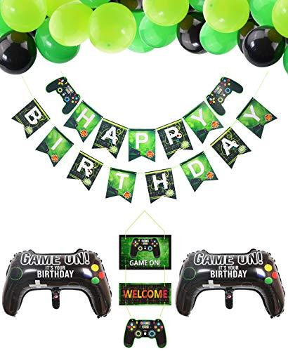 PIXHOTUL Articoli per Feste per Videogiochi Happy Birthday Striscioni di Gioco, Decorazioni Sospese di Benvenuto e Palloncini a Tema Giocatore 32 Pezzi per la Festa di Compleanno dei Ragazzi