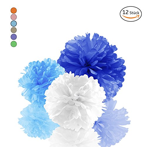 (Amazy Seidenpapier Pom Poms (12er Set) – Wunderschöne Seiden Deko-Kugeln Zum Aufhängen (Blau))