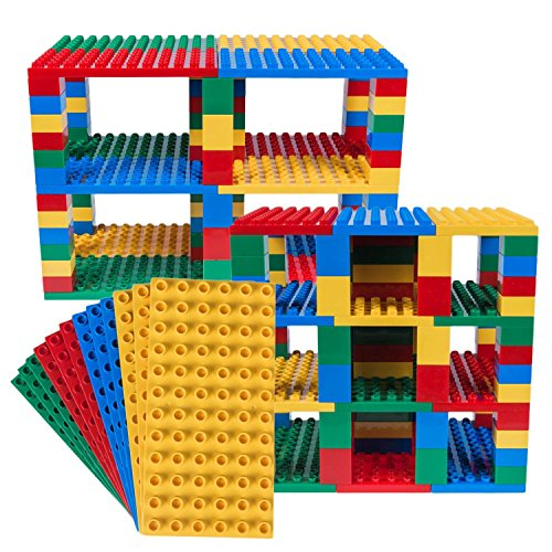 Big Briks Set für Turm-Konstruktionen - Premium-Bauplatten - kompatibel mit großen Bausteinen Aller führenden Marken - Blau, Grün, Rot, Gelb