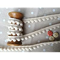 HomeBuy - Passamaneria con pompon, finiture di ottima qualità, dimensioni 10 mm (mini) x 1 m, colore: osso