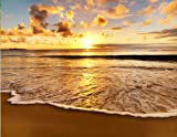 Wandbild Foto-Tapete Sonnenuntergang am Strand KT409 Strand Ufer Sonne Tapete Fototapete Größe: 350x270cm XXL-Tapete Papiertapete Kleistertapete