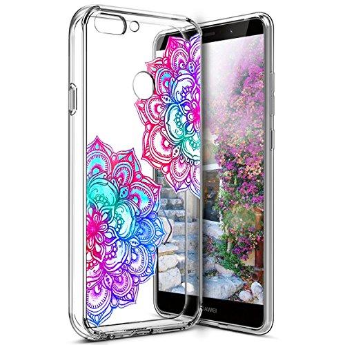 Surakey Coque Compatible avec Huawei P Smart Transparente Silicone Gel TPU Souple Housse Etui Bumper Dessin de Belle Fleur Papillon Crystal Clear Téléphone Couverture pour Huawei P Smart,Mandala