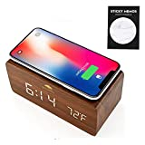 Woolala Wireless Charging Alarm Clock Wood Voice Control LED Digital Clock Phone Charging pad for iPhone Sumsang for Bedroom, Travel, Heavy Sleepers