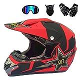Anderseb Motocross Helm Herren MotorradHelm Sets mit Brille/Maske/Handschuhe, Cross-Helm Motorcycle Off-Road DH Sport Enduro-Helm ATV-Helm für Männer Damen,L58`59CM