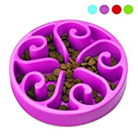 Zellar Dog Bowl Slow Feeder - Slow Feed + Interactive + Bloat Stop + Anti Gulp Blue Dog Bowls Fit Small Medium Dogs and Cats, Purple