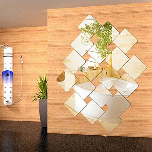 Gfone 6 Piezas Estilo Moderno Decorativo Espejo Cuadrado estéreo Etiqueta de la Pared Dormitorio decoración del hogar Pegatinas de Pared
