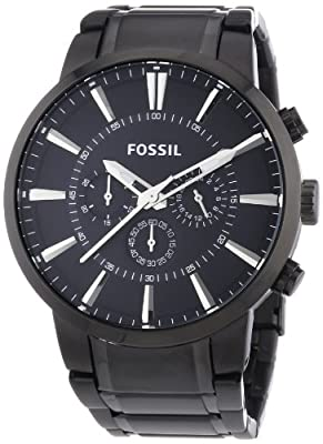 Fossil FS4778 - Reloj cronógrafo de cuarzo para hombre, correa de acero inoxidable color negro (agujas luminiscentes) de Fossil