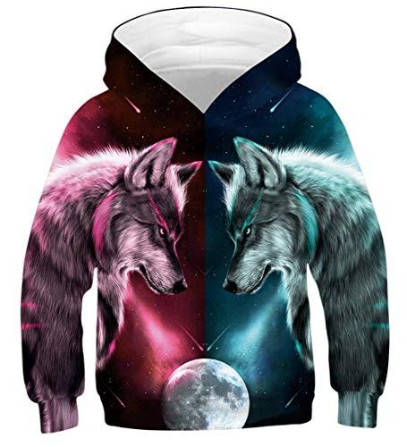 Fanient Unisex 3D Drucken Hoodies Neuheit Wolf Muster Pullover Sweatshirt mit Taschen für Kinder -