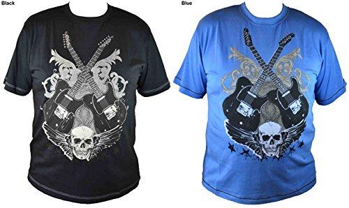 """Metaphor - Herren Bedrucktes T-Shirt """"Twin Guitars"""" Design Schwarz"""