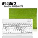 Apple iPad Air 2 Deutsche Bluetooth Tastatur,CoastaCloud Ultra-Thin QWERTZ Deutsche Bluetooth Tastatur Keyboard Case für Apple ipad Air 2 (A1566 A1567 )Grün
