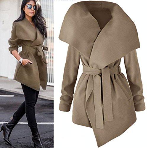 BBring Damen Mantel Schlank Passen Trenchcoat mit Gürtel Winter Jacke Trench Windbreaker Parka Outwear (S, Khaki)