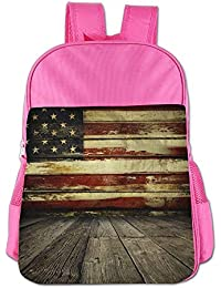 American Flag On Wooden Planks Wall Children School Backpack Carry Bag For Youth Boy Girls
