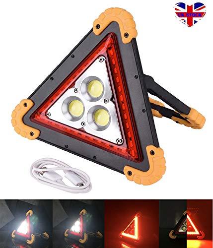 SiKy 30 W LED Triangulaire d'avertissement d'urgence Lumière Blanche et Rouge Portable Étanche Projecteurs pour Camping Randonnée Voiture d'urgence Réparation de Chantier Eclairage de Route