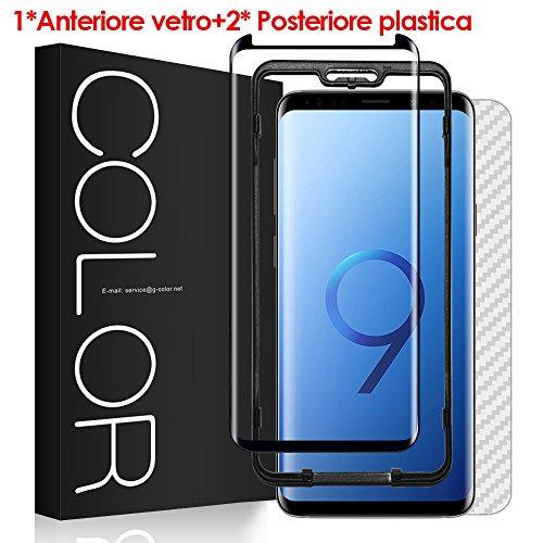Vetro Temperato Galaxy S9 Pellicola, G-Color Pellicola Protettiva [3D Vetro Temperato] Facile da Installare [con Posteriore in Plastica] Alta Definizione Pellicola Vetro per Samsung Galaxy S9, Nero -(Garanzia a vita)