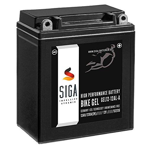 SIGA Bike GEL YB12AL-A2 Motorrad Batterie 12V 12Ah 230A/EN GEL12-12AL-A, YB12AL-A, BMW F 650 Yamaha XV 535