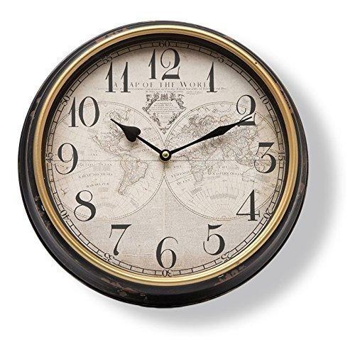 Wanduhr Weltkarte Antik Shabby Uhrwerk Nostalgie Uhr schwarz braun rost Metall von Haus der Herzen