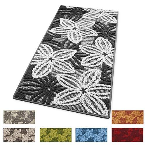 ARREDIAMOINSIEME-nelweb Tappeto Cucina Floreale Tessitura 3D Retro Antiscivolo Moderno Multiuso Passatoia Corridoio Bagno Camera MOD.Enea 57x240 Grigio (G)