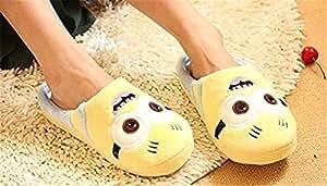 Sbires yeux pantoufle peluche regard pantoufles pantoufle hiver couples dessin animé chaussons pantoufles adultes enfants, Pointure 36/37 selon rire