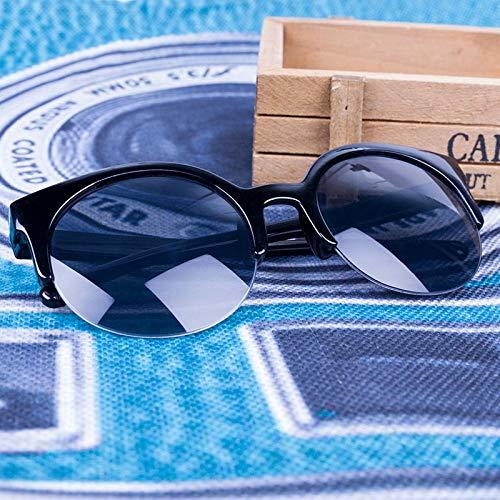 Aprigy - Retro Runde Sonnenbrille Frauen Cat Eye Brillen Halbrahmen Sonnenbrille Männer Weibliche Mode Mirorr Sonnenbrillen [Helles Schwarz]