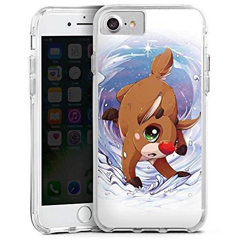 Apple iPhone 8 Bumper Hülle Bumper Case Glitzer Hülle Rudi Reindeer Rentier Bumper Case transparent