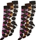 6 Paar Modische Damen Baumwoll Kniestrümpfe mit Karos von VCA®