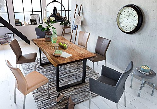 Sam Stilvoller Esszimmertisch Quarto 160 x 85 cm, nussbaumfarbig, Akazienholz-Tisch mit Schwarz lackierten Beinen, Baum-Tisch mit naturbelassener Optik (Tisch Aus Nussbaum)