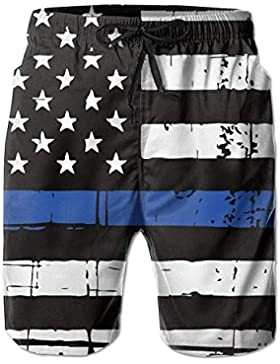 Funny Caps Thin Blue Line American Flag Men's/Boys Casual Quick-Drying Bath Suits Elastic Waist Beach Pants with...