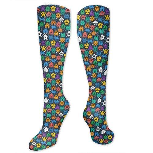 Kostüm Space Invader - Gped Kniestrümpfe,Socken Retro Space Invaders Video Game Compression Socks,Knee High Socks,Funny Socks for Women Men - Best Medical,Sports,Running, Nurses,Maternity,Pregnancy,Travel & Flight Socks