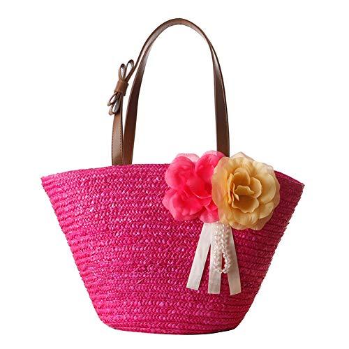 KTENME - Borsa in Paglia con Due Fiori e Piante, in Tinta Unita, da Donna, a Tracolla, Stile Vintage, Rose Red, 42 * 22 * 17 cm